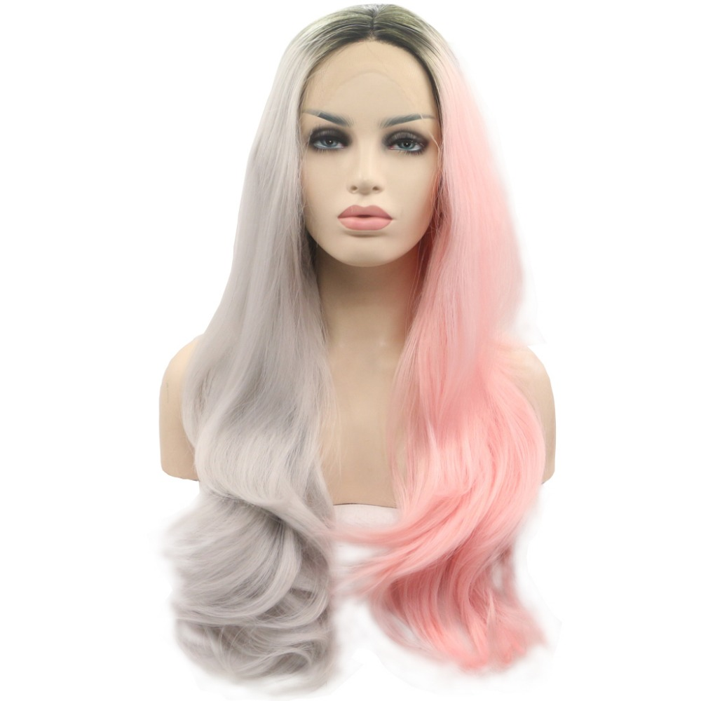 ФОТО Aurica Fashion Ombre Grey and Pink with Black Roots Long Natural Straight Synthetic Lace Front Women Wig