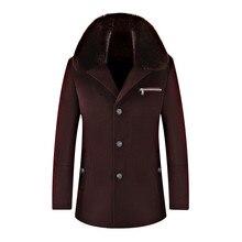 2016 зимний мужской высокое качество шерсти куртки траншеи пальто Мужчины однобортный Воротники Съемный долго ветровка шерстяные пальто