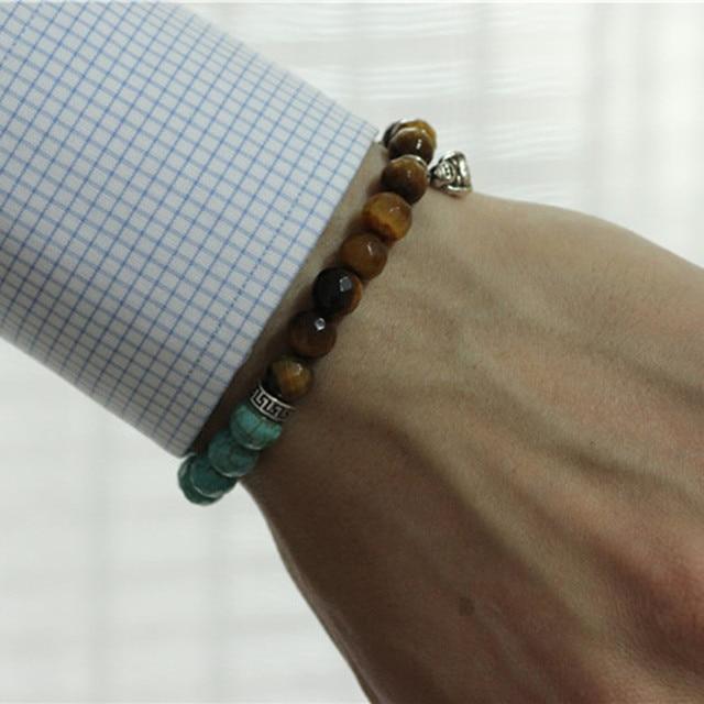 2017 Buda Men Bracelets Turquoise & Tiger eye Stone Beads Buddha Bracelet ,Buda Men Bracelet Homme Buddhist Prayer Beads