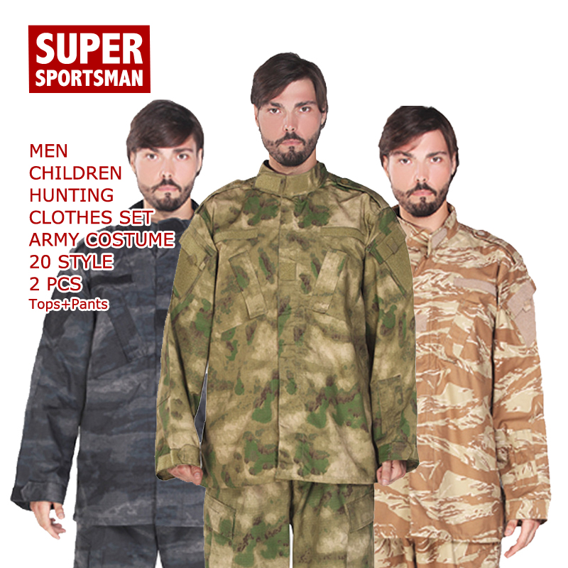 Combat Hunting Men CS Camouflage Clothing Set Kids Boys Military Tactical Ghillie Suits Children Jungle Cosplay