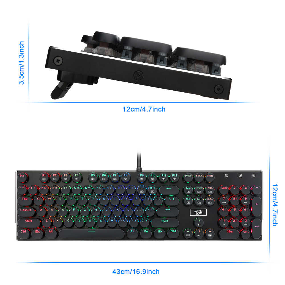 Redragon K556 RGB-RK الألومنيوم USB الألعاب الميكانيكية لوحة المفاتيح البني التبديل لتقوم بها بنفسك مريح LED الخلفية 104 السلكية لعبة الكمبيوتر