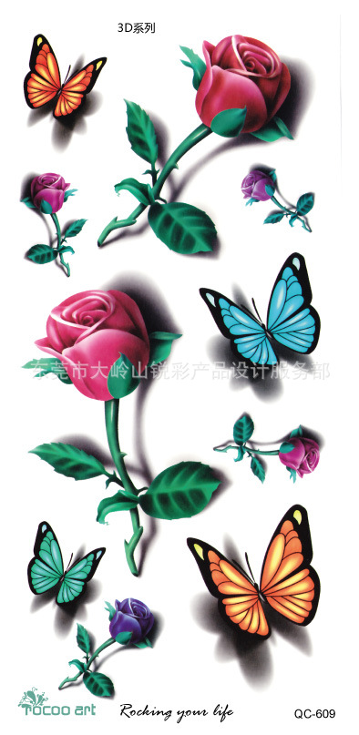 Body Art Waterproof temporary tattoo sticker for women Beautiful 3d colours butterfly rose large arm tatoo wholesale QC2609 1