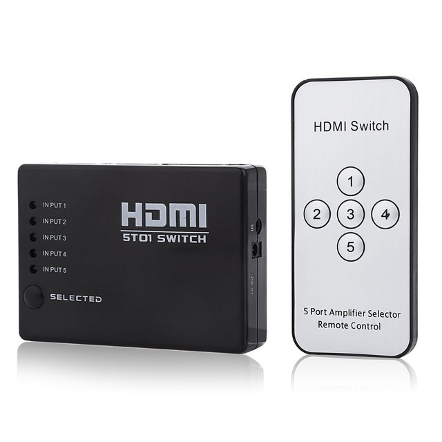 Energy Saving And Durable Mini HDMI Switcher 5 Input 1 Output Switcher With IR Remote Controller Support 4K x 2K 3D 1080P