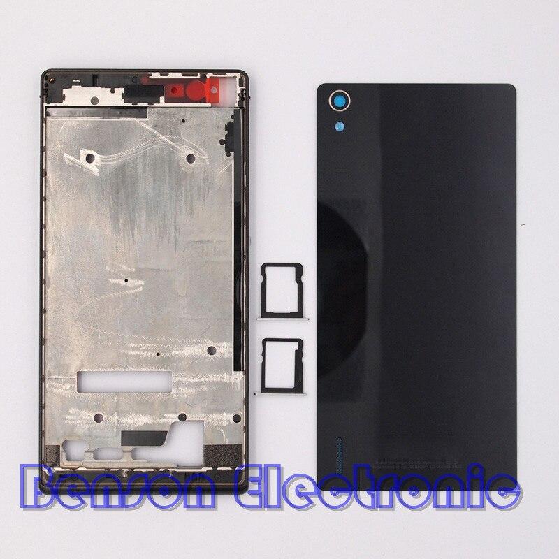 bilder für BaanSam Neue LCD Vordere Rahmen Glas Batterie Rückseitige Abdeckung Sim-karte fach für huawei ascend p7 gehäuse case mit power lautstärketasten