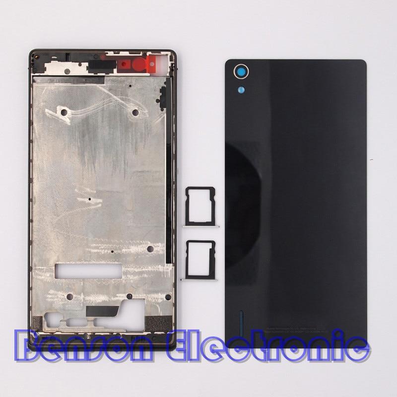 imágenes para BaanSam Nuevo LCD Marco Frontal de Cristal Trasera de Batería Cubierta de la Tarjeta SIM bandeja para huawei ascend p7 case vivienda con botones de volumen de energía