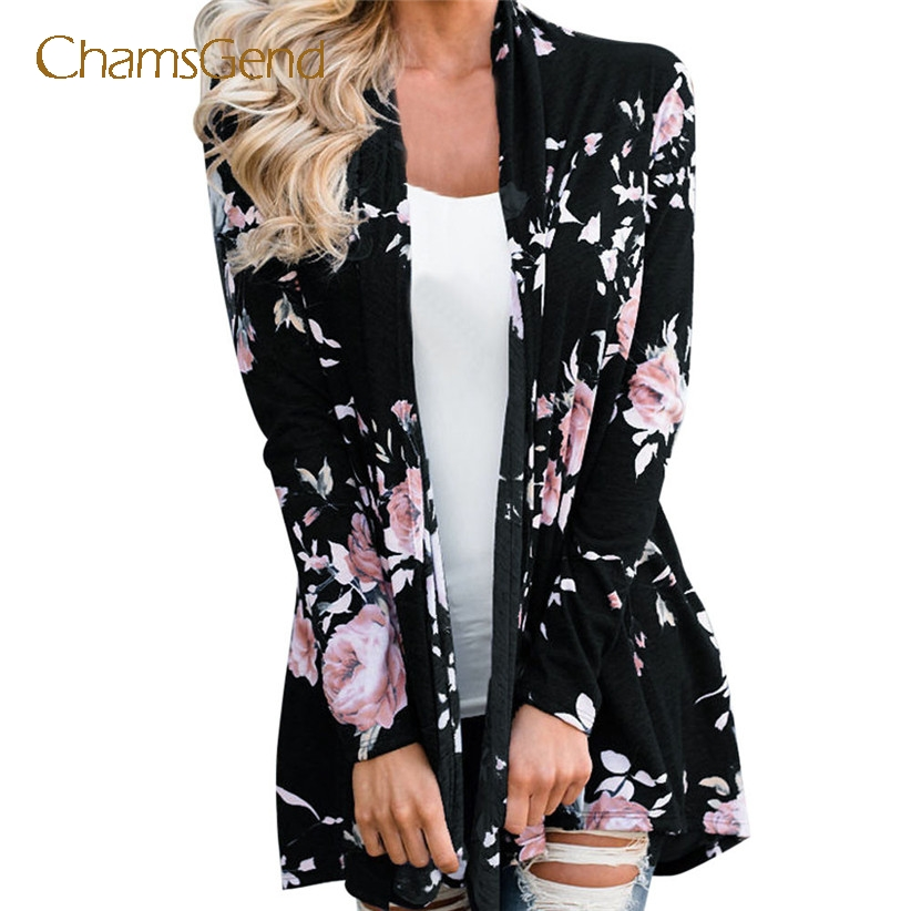 Chamsgend Women Casual Flower Print Sweater Coat Autumn Cardigan Outfit Drop Shipping 7915