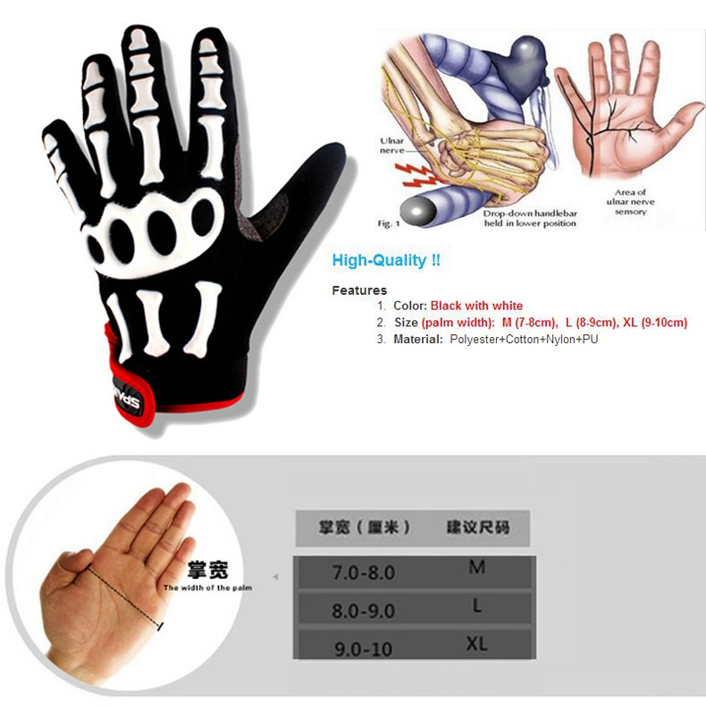 New Cycling Gloves Brand Silicone GEL Full Finger Gloves Skull Bike Bicycle Men Anti Slip Sweat for MTB Riding Green White Black (6)