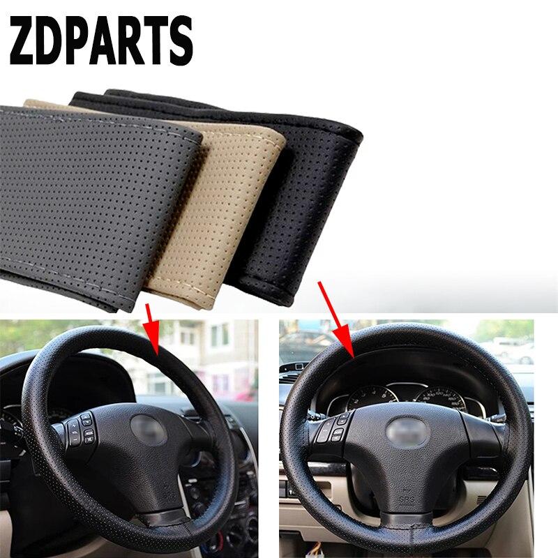 ZDPARTS 38CM Leather Automobiles Car Steering Wheel Covers For Hyundai i30 ix35 ix25 Solaris Tucson 2017 Mazda 3 6 cx-5 Subaru