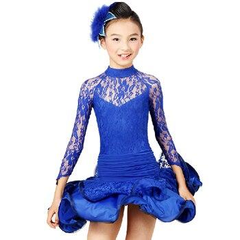 Children Dance Costumes For Girls Latin Skirt S-XXL Vestido Franja Long Sleeve Latin Dresses For Kids Free Ship