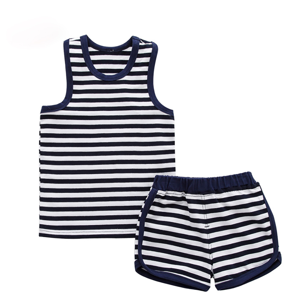 2017 New Summer Kids Clothes Children Clothing Baby Boy Clothes Set Toddler Baby Boys Clothing Set Cotton Knitted Striped Shorts summer baby boys clothing set cotton animal print t shirt striped shorts sports suit children girls cartoon clothes kids outfit
