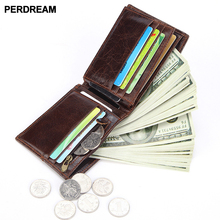 Mens wallet leather short clip oil wax cowhide multi-card position foreign trade
