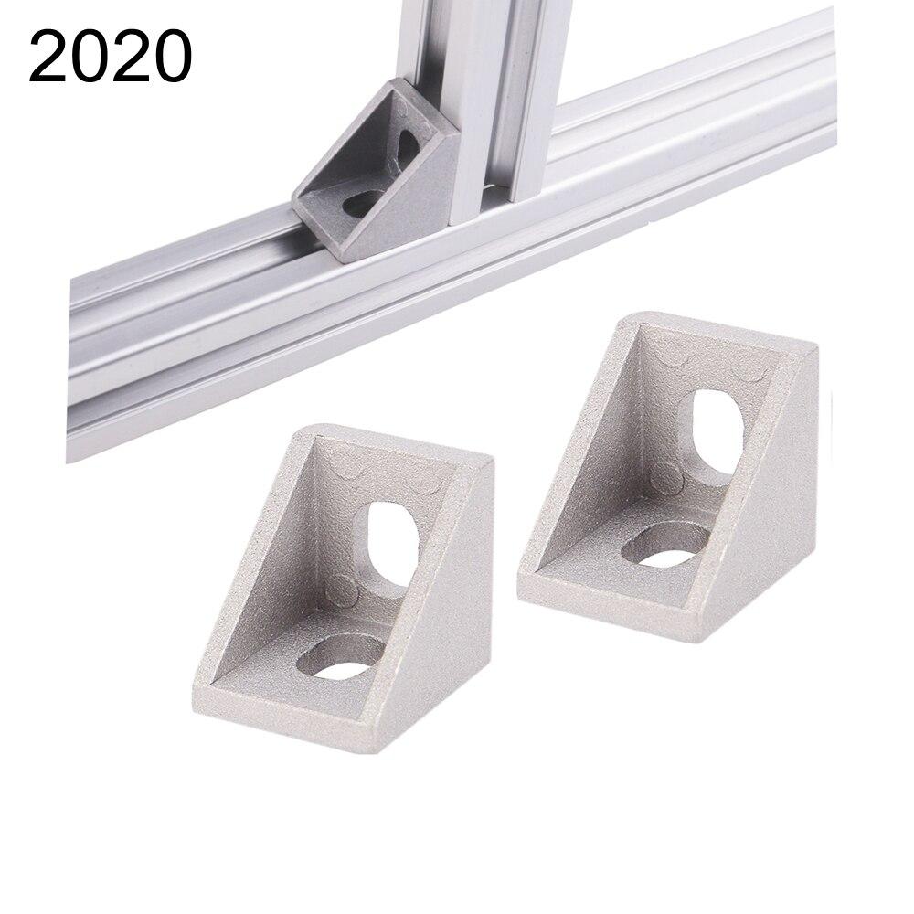 все цены на 20pcs 2020 Slot 6mm corner fitting angle aluminum 20x20 L connector bracket fastener match use 2020 industrial aluminum profile онлайн