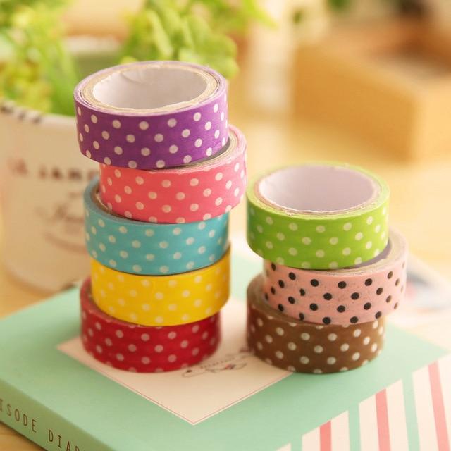 8 pcs/lot Polka Dot Masking Tape Decoration DIY Cute Roll Handmade Washi Tape Sticky Self Adhesive Tape Scrapbook Tape TP005