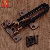 Antique Copper Zinc Alloy Security Door Guard Latch With Black Rubber Stopper Swing Bar Door Security
