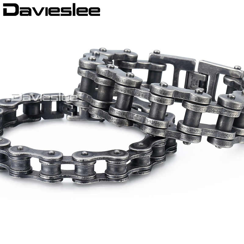 mm Mens Boys Gunmetal Matte L Stainless Steel Biker Motorcycle Bracelet Chain