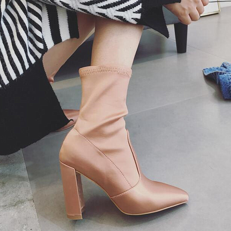 Winter boot Major suit Pointed Toe High-heeled Square heel Genuine leather Elastic force Woman Boots Riding Silk shoes cloth double barrel toddler boys s andy cowboy boot square toe
