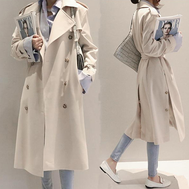 Woman's Trenches Coat Autumn 2016 Fashion Female Overcoat With Belt Long Design