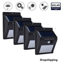 20/30 LED Solar Power Lamp PIR Motion Sensor 1/2/4pcs Wall Light Outdoor Waterproof Energy Saving Garden Security