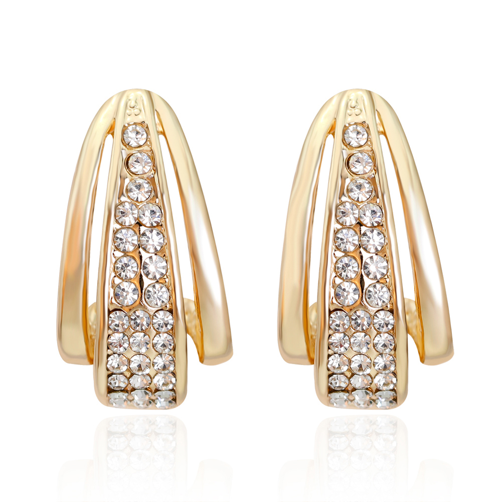 Goldcolor Small Hoop Earrings With Cz Diamonds Elegance Style Design  Jewelry High Quality Women