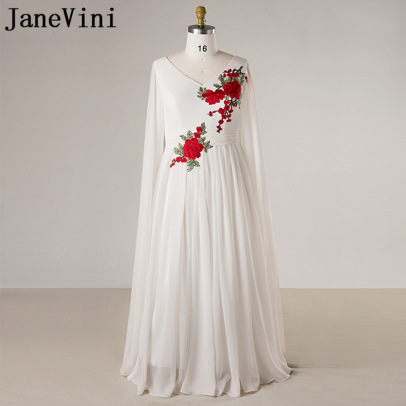 JaneVini Arabic Plus Size Mother Of The Bride Dresses Chiffon Women White Long Sleeve Evening Party Formal Dress La Mejor Madre
