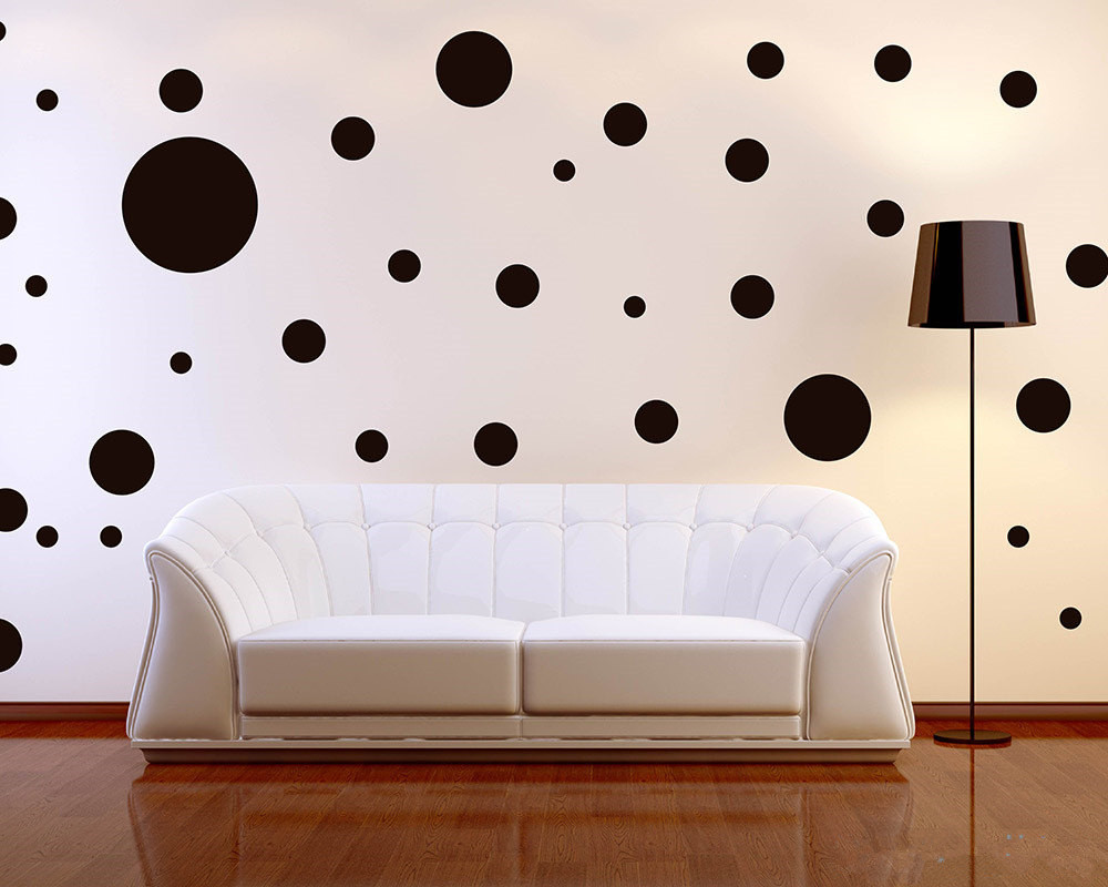 Decalcomania dell'autoadesivo della parete di Polka Dots di forma rotonda assortita multi-dimensione 64pcs / lot