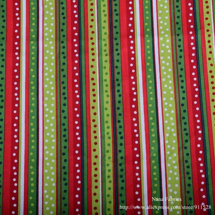 red green polka dots stripes printed 100  cotton christmas