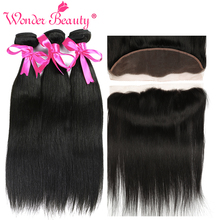 hot deal buy wonder beauty brazilian straight hair weaves hair pieces frontal non remy human hair extensions 3 bundles with lace frontal deal