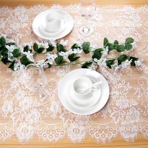 Image 2 - Ourwarm ホワイトフローラルレーステーブルランナーローズテーブルクロス椅子サッシディナー宴会洗礼ウェディングパーティーテーブルデコレーション 300 センチメートル