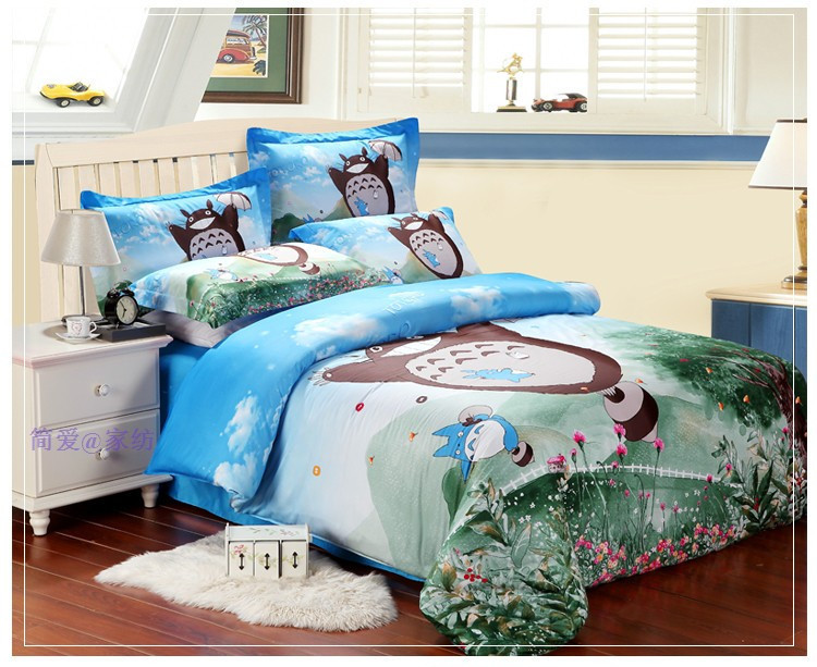 Kids Bedding totoro bed Cartoon Bed duvet cover set comforter bedding set  king queen full twin size Bedclothes ab92a3784