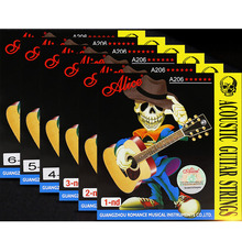 купить 6 Pieces/Set Alice Acoustic Guitar Strings 1st/2nd/3rd/4th/5th/6th High Quality Guitar Parts Accessory Strings дешево