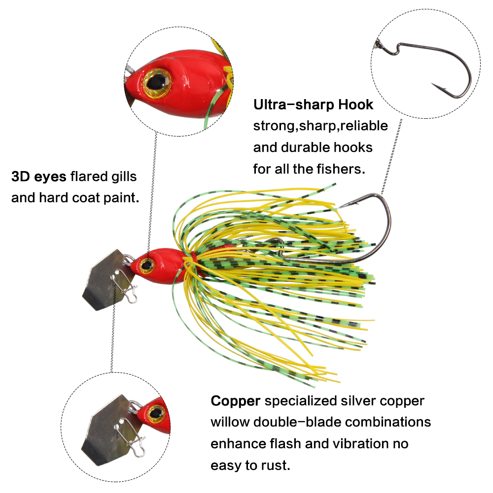 JSM buzzbait chatterbait spinnerbait Lures fishing artificial bait with skirts silicone jig lead head for pike bass fishing-1