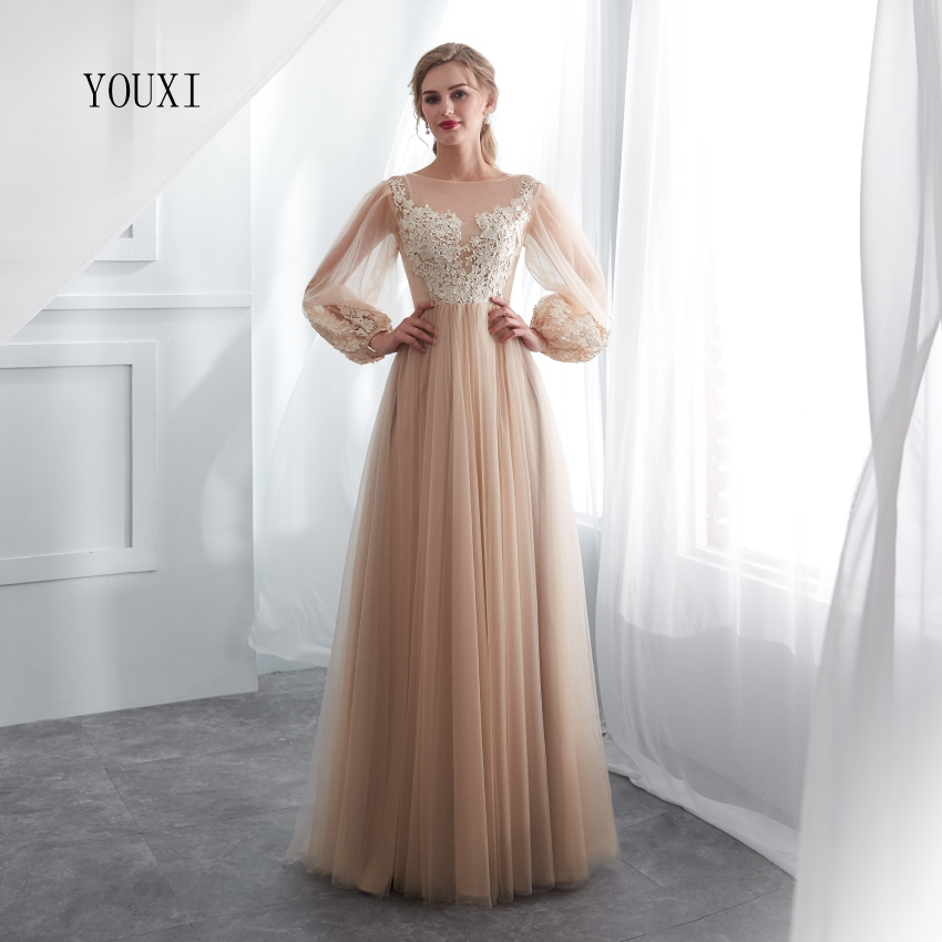 Champagne Prom Dresses 2019 YOUXI Transparent Lace Applique A-line Long Sleeve Floor Length Long Party Evening Formal Gowns
