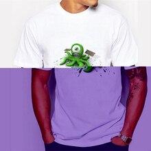 Hot Sales New Fashion design Men T-shirt Short Sleeve Geek Tops Octopus Hair Printed Hipster boy tee 68-4#