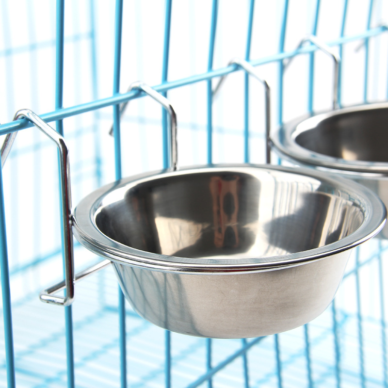 WHISM Hanging Dog Cat Pet Cage Food Water Feeder Stainless Steel Bowl Dish Puppy Pet Water Food Bowls with Hook comedouro pet