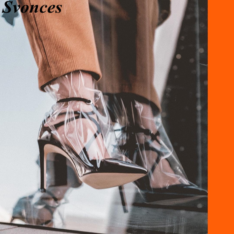 Ayakk.'ten Kadın Pompaları'de Şeffaf PVC Yüksek Topuklu Pompalar Süper Yıldız Ayakkabı Kadın Sivri Burun Saten Pist Ayakkabı Ayak Bileği Kayışı Kesip Jöle Elbise ayakkabı'da  Grup 1