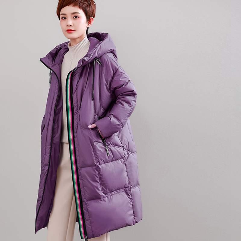 purple Survêtement À De 2019 Moyen Manteau Long Femmes Haute Qualité Épais Nouveau Ly414 Doen Femme Mode Chaud Veste Capuche Black Hiver Mince Européenne Plus gqwdxFHF4