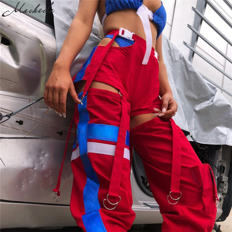 Macheda Women Fashion High Waist Side Hollow Out Pants Button Split Streetwear Sweatpants Womens Trousers Spliced Colour Pants