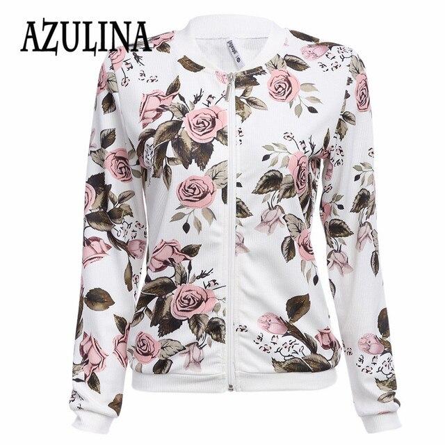 AZULINA 2016 Harajuku пилот куртка пальто Цветочный Белый бомбардировщик куртка женщин Осень верхняя одежда женская повседневная основные бейсбол куртки