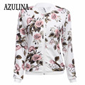 AZULINA 2016 Harajuku jaqueta piloto casaco Floral Branco jaquetas de beisebol bomber jacket mulheres Outono outerwear feminino casual básico