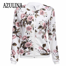 AZULINA 2016 Harajuku pilot jacket coat Floral White bomber jacket women Autumn outerwear female casual basic baseball jackets