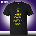 Keep Calm And Fus Ro Dah Skyrim Men's T-Shirt Letter Printed Cotton O-neck Fashion Tee Shirt Summer Shorts Casual Men Top S-3XL