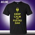 Mantener La Calma Y Fus Ro Dah Skyrim Camiseta de la Letra Impresa de Los Hombres Moda Del O-cuello del algodón Camiseta Pantalones Cortos de Verano Casual Hombres Top S-3XL