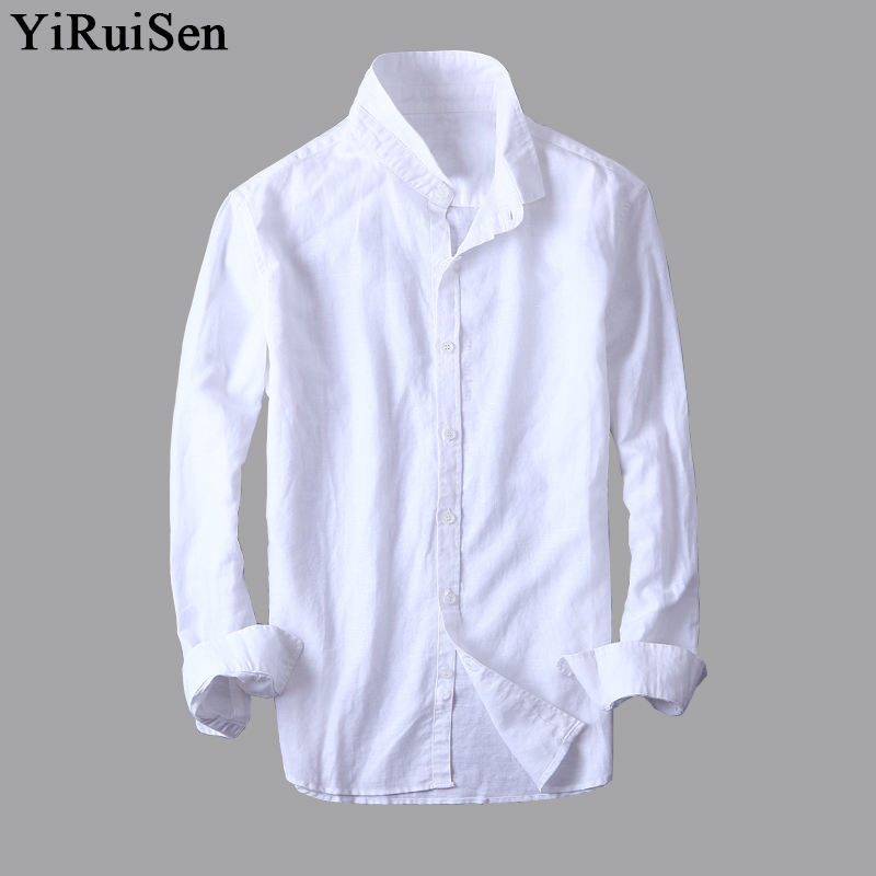 Yiruisen brand cotton linen shirt men 2017 autumn new Shirts for thin guys