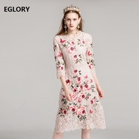 XXL New Plus Size Women Wedding Party Dress 2018 Spring Ladies Rose Floral Embroidery 3 4