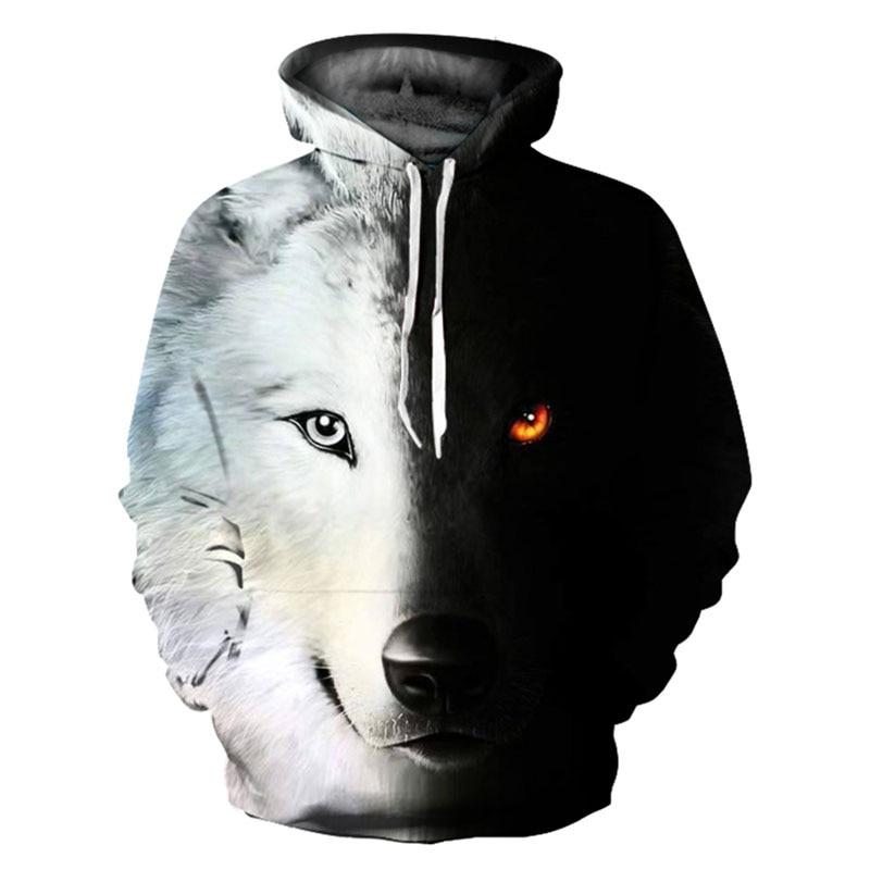 Mens Hoodies Sweatshirt Funny 3D Fashion Black White Wolf -9117