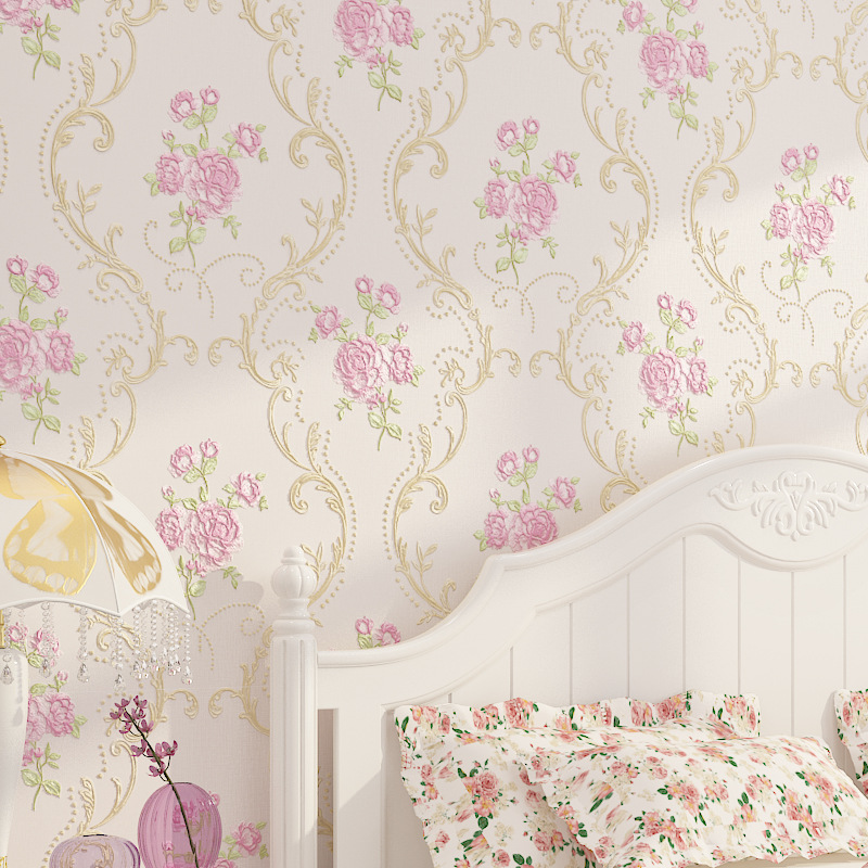3d Texture Non Woven Round Mesh Fine Pressed Korean Style Garden Flower Wallpaper Bedroom High End Home Decoration Wall Paper