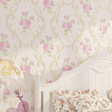 3d texture non-woven round mesh fine pressed Korean-style garden flower wallpaper bedroom high-end home decoration wall paper