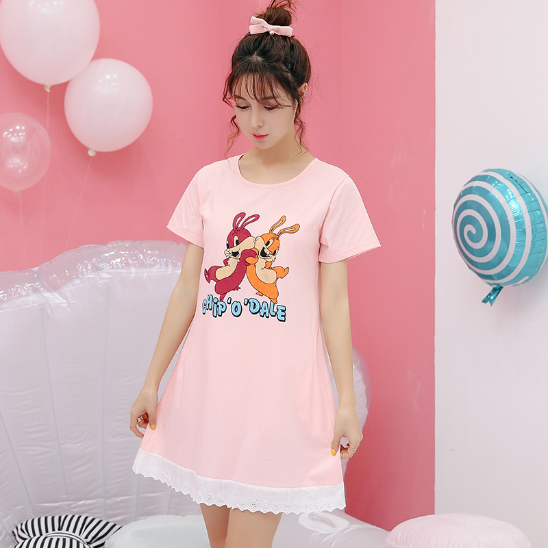 Cotton Sexy women nightshirts   nightgowns  &  sleepshirt   female spring nightdress ladies sleepwear nightwear big yards pijama pyjamas