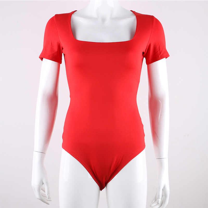 Nadafair, короткий рукав, квадратный воротник, сексуальный боди, белый, черный, красный, 2019, летний женский комбинезон, цельная футболка, боди для женщин