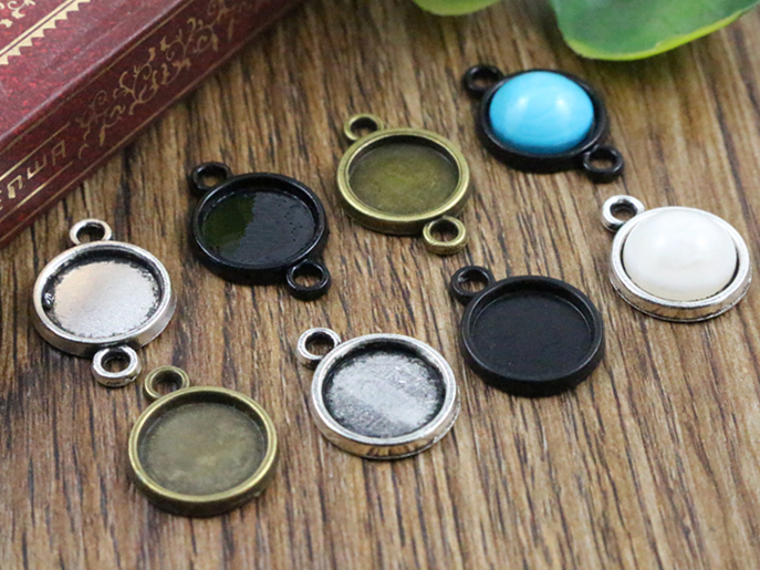 30pcs 10mm Inner Size Antique Bronze And Silver And Black Plated 6 Simple Style Cabochon Base Cameo Setting Charms Pendant30pcs 10mm Inner Size Antique Bronze And Silver And Black Plated 6 Simple Style Cabochon Base Cameo Setting Charms Pendant
